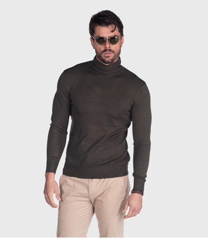 Men's Dark Green Turtleneck Sweater