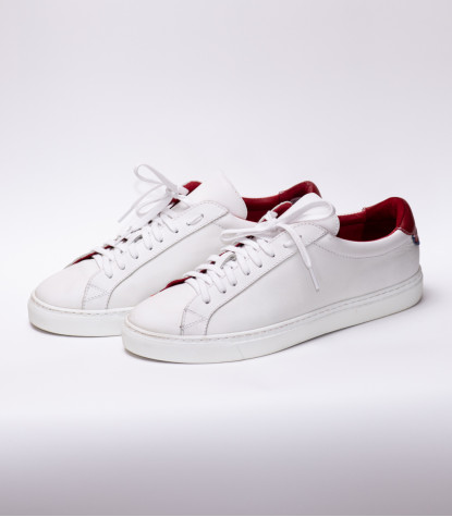 Chaussures Homme Baskets en cuir Made in Italy Blanc