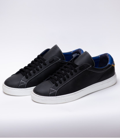 Chaussures Homme Baskets en cuir Made in Italy Noir