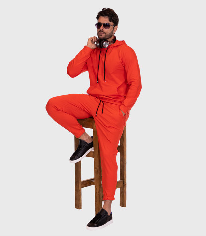 Cotton Complete Tracksuit For Men Solid Orange