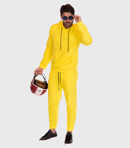 Cotton Complete Tracksuit For Men Solid Yellow
