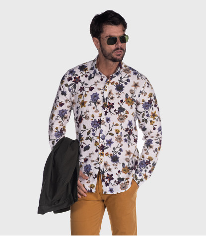 1 Button Soft Slim Man Shirt Printed Linen White Floral