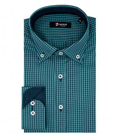 Camicia Uomo 1 Bottone Button Down Slim Oxford Quadro Piccolo Turchese/Blu