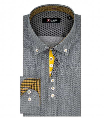 1 Button Button Down Slim Man Shirt Printed Popeline Gray / Black