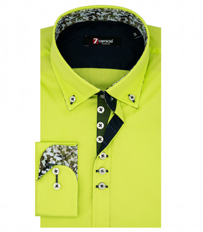 Camicia Uomo 1 Bottone Button Down Slim POPELINE STRETCH UNITO Verde