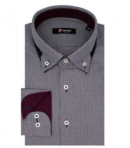 Camicia Uomo 1 Bottone Button Down Doppia Vela Slim Jacquard Fantasia Blu/Bordeaux
