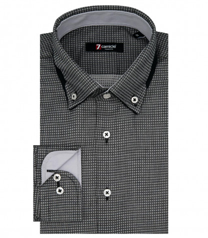 1 Buttons BDW Double Sail Slim Man Shirt Satin Pattern Dark Grey/Black