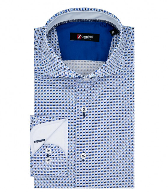 1 Button French Collar Slim Man Shirt Popeline Pattern Sky and Ink