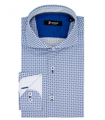 1 Button French Collar Slim Man Shirt Printed Poplin Light Blue and Ink