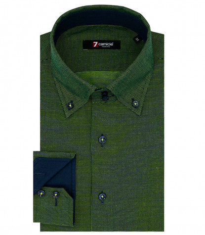 2 Buttons Button Down Slim Man Shirt Jacquard Pattern Blue/Light Green