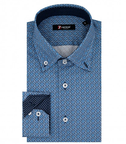 2 Buttons Bdwn Slim Man Shirt Printed Poplin Ink and Light Blue