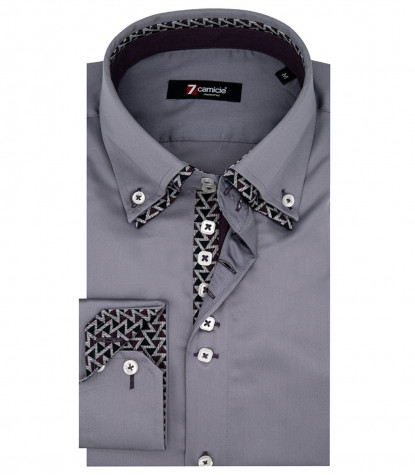Camicia Uomo 2 Bottoni Button Down 7Bottoni Doppio Collo Slim Satin Unito Grigio Medio