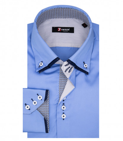 Colosseo 3 Button Down Double Collar Shirt in Light Blue Satin
