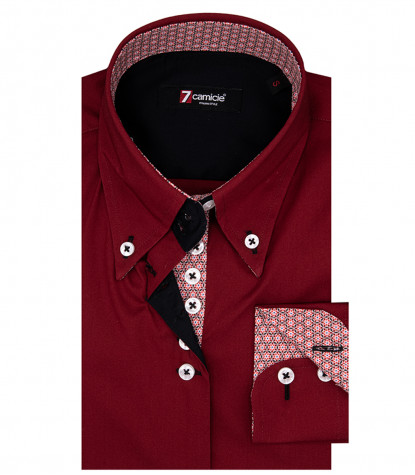 Silvia Woman Shirt 2 Button Down Popeline Stretch Bordeaux Red