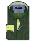 Men's Shirt Roma 2 Button Down Jacquard Green Blue Print