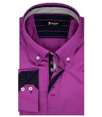 Camicia Uomo Roma 2 Button Down Satin Viola
