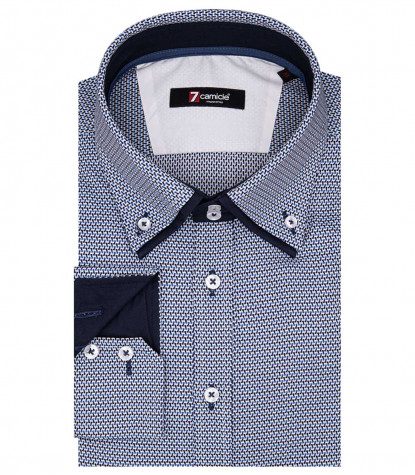 Marco Polo Man Shirt 2 Button Down Doppelkragen Jacquard Blue Fantasy