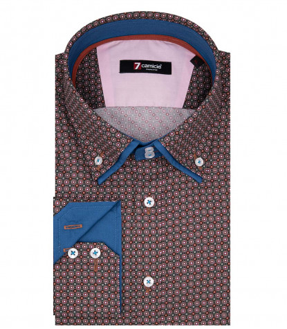 Marco Polo Mann Shirt 2 Button Down Doppelkragen Popeline Fantasy Red Sky Blue