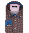 Marco Polo Man Shirt 2 Button Down Double Collar Popeline Fantasy Red Sky Blue