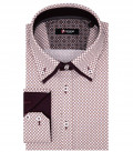 Marco Polo Man Shirt 2 Button Down Double Collar Popeline Fantasy White Red