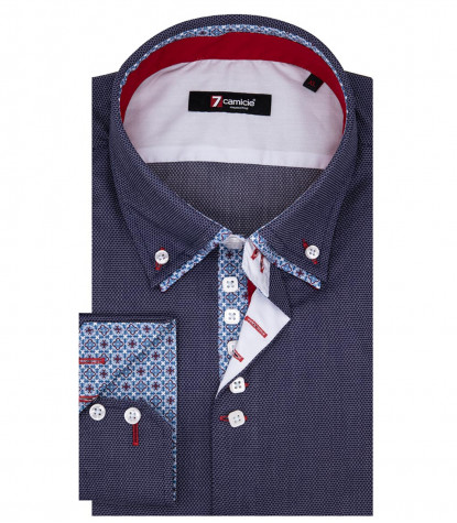Marco Polo Man Shirt 2 Button Down Doppelkragen Jacquard Blue Pattern