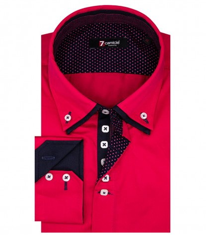 Marco Polo Man Shirt 2 Button Down Double Collar Satin Pink
