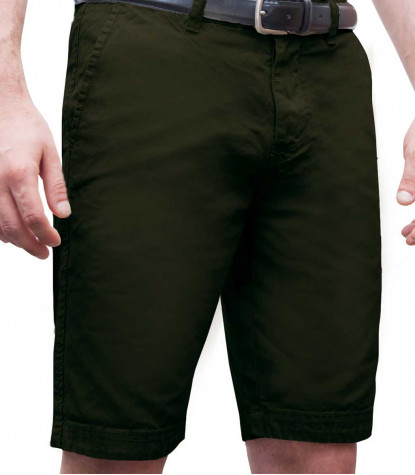 Bermuda shorts cotton plain colour green