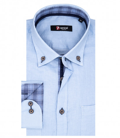 Leonardo Man Shirt 1 Button Button Down Light Blue Linen
