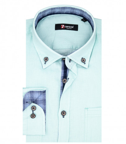 Leonardo Man Shirt 1 Button Button Down Hellblaues Leinen