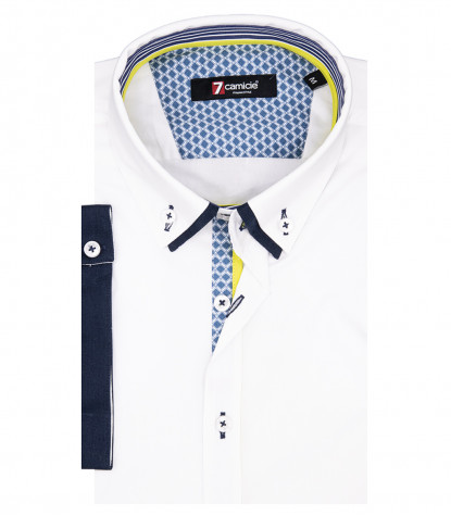 Chemise Homme Donatello 1 Bouton Bas Double Col Manches Courtes Popeline Stretch Blanc