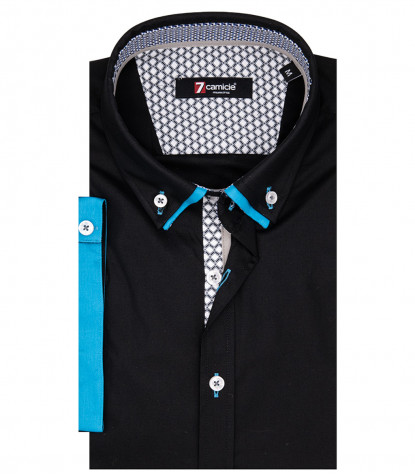 Camicia Uomo Donatello 1 Button Down Doppio Collo Manica Corta Popeline Stretch Nero