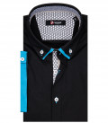 Donatello Man Shirt 1 Button Down Double Collar Short Sleeve Popeline Stretch Black