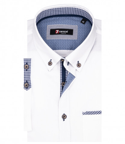 Leonardo Man Shirt 1 Button Button Down Short Sleeve Oxford White