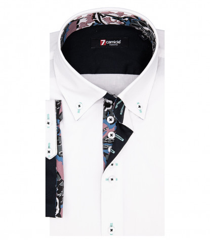 Rome Man Shirt 2 Buttons Button Down Short Sleeve Stretch Popeline White