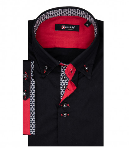 Rome Man Shirt 2 Buttons Button Down Short Sleeve Stretch Popeline Black
