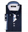 Chemise Homme Roma 2 Boutons Boutonnée Manches Courtes Popeline Stretch Bleue