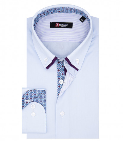 Chemise Homme Donatello 1 Bouton Button Down Double Col Popeline Stretch Bleu Clair