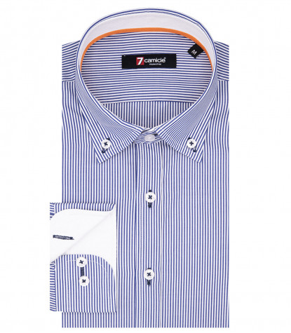 Leonardo Man Shirt 1 Button Button Down Cotton Light Blue Narrow Line