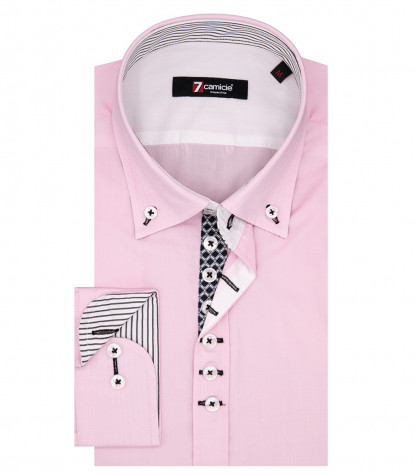 Leonardo Man Shirt 1 Button Button Down Popeline Pink