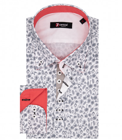 Leonardo Man Shirt 1 Button Button Down Popeline Weißdruck