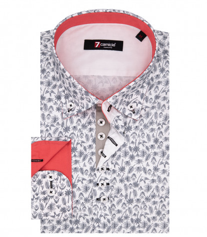 Leonardo Man Shirt 1 Button Button Down Popeline White Print