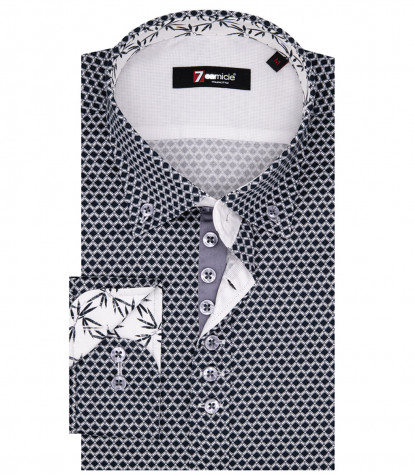 Camicia Uomo Leonardo 1 bottone Button Down Popeline Fantasia Nero