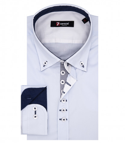 Camicia Uomo Leonardo 1 bottone Button Down Popeline Stretch Celeste