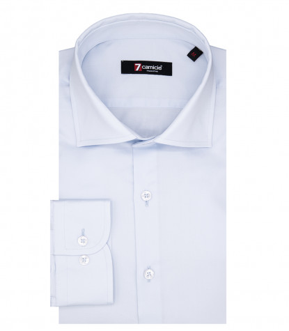 Florence Man Shirt 1 French Button in Light Blue Satin