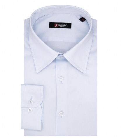 Romeo 1 Button Italian Shirt in Light Blue Satin