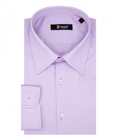 Romeo 1 Button Italian Shirt in Lilac Satin