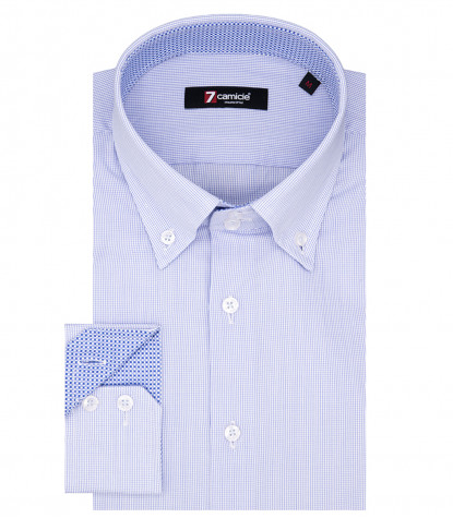 Rome Man Shirt 2 Buttons Button Down Small Square Cotton White