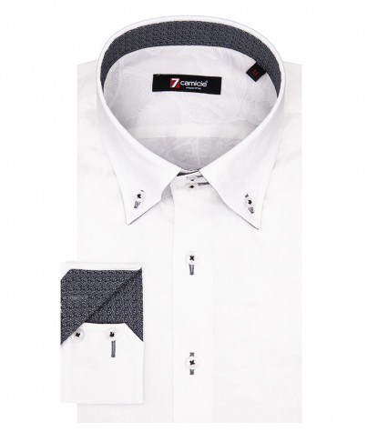 Rome Man Shirt 2 Knöpfe Button Down Popeline Weiß