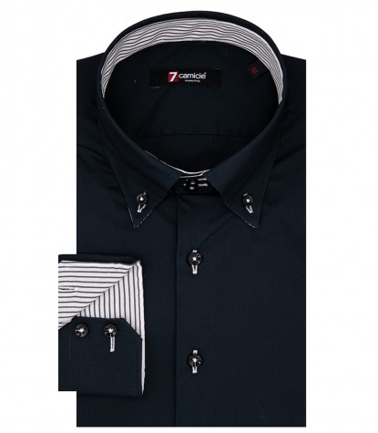 Chemise homme Roma 2 boutons Button Down Popeline Noir