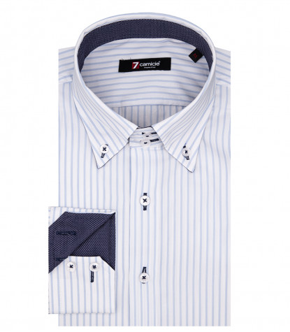 Camicia Uomo Roma 2 bottoni Button Down Popeline Riga Media Bianco Celeste